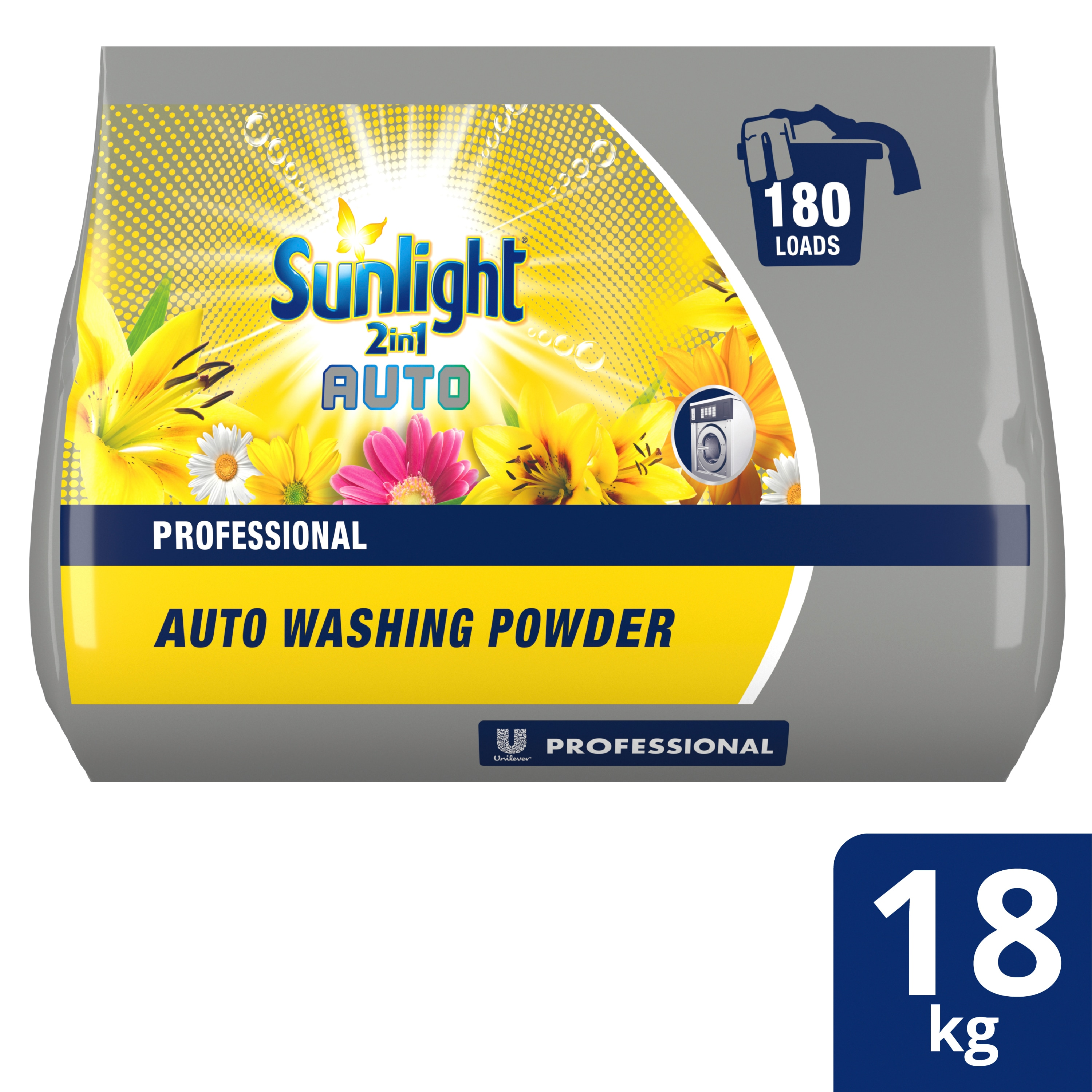 Unilever Professional Sunlight 2-in-1 Auto Washing Powder 18 Kg - Sunlight 2-in-1 Auto Washing Powder 18 kg  has a longer shelf life which means it can be bought in bulk. With Optical Brightener, it delivers a powerful clean and sensational fragrance whilst being delicate on fabrics.