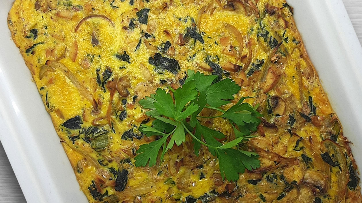 Crustless Chicken Quiche with Spinach, Mushroom and Caramelised Onions