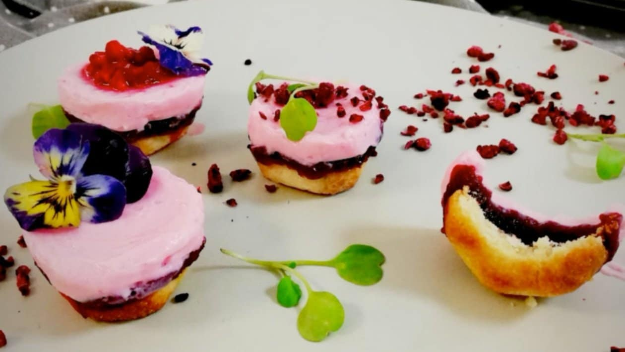 Coconut Shortbread and Wild Berry Jam Cheesecake Tartlets