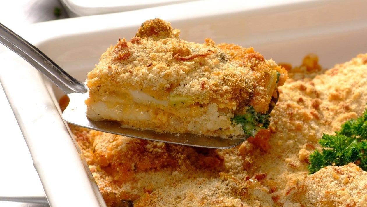 Oven Baked Hake with Broccoli, Tomato & Basil Sauce,