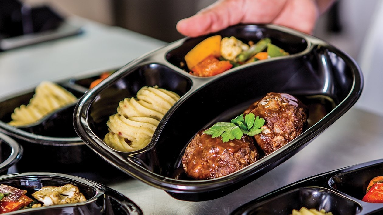 Baked Meatballs with Herbed Mash and Roast Vegetables