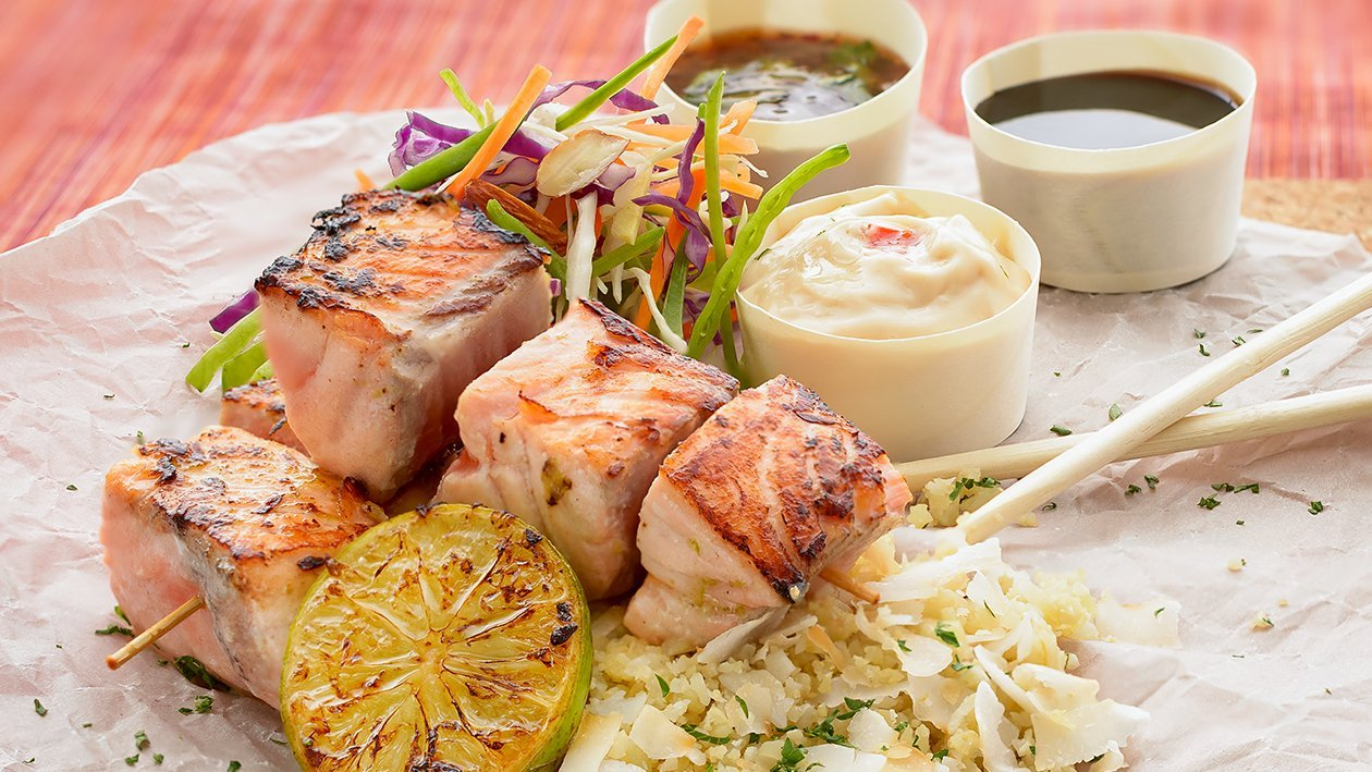 Lime and Ginger Grilled Salmon Skewers