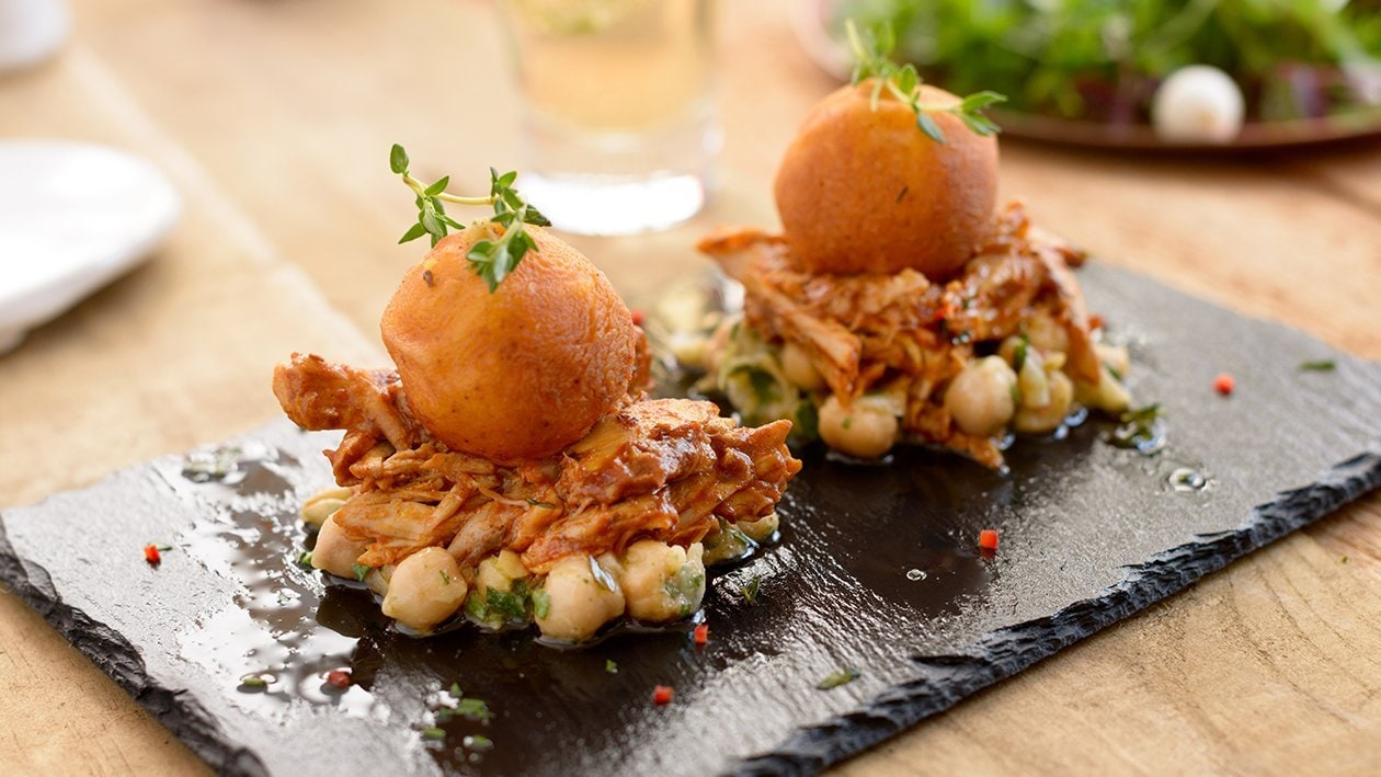 Pulled Chicken, Fried Mash Bombs, Chickpea Lemon Salsa