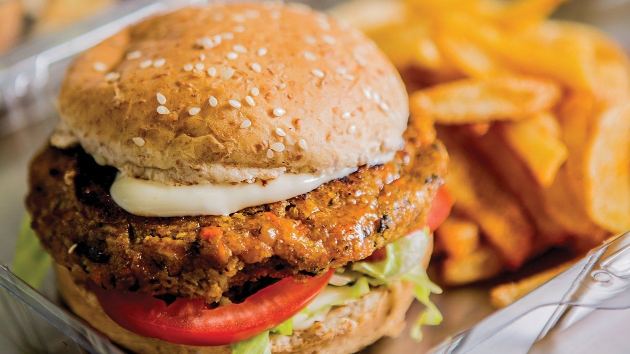 Veggie Burger and Spiced Up Chips