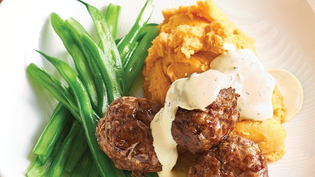Dijon Meatballs and Minted Hollandaise Sauce