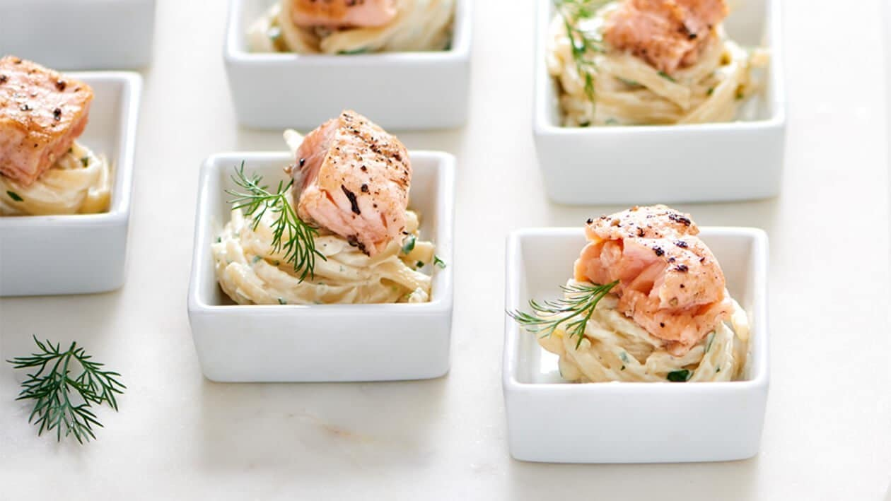 Linguine Pasta with Norwegian Salmon, Wasabi Yoghurt Cream and Soy Cream