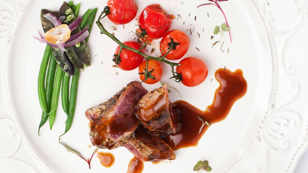 Lamb Loin with Warm Salad of Mixed Beans and Slow Roast Tomatoes